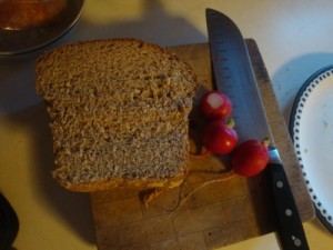 Bread, Knife, radish still-life