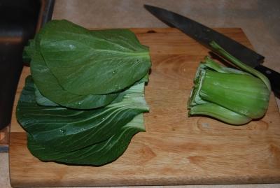 bok choy chopped in half