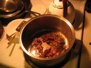 Frying Bacon in Large Pot