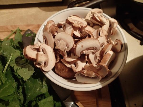 Risotto sliced mushroom