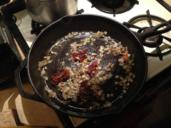Vegetable Curry, sauteing the onions & dried tomatoes