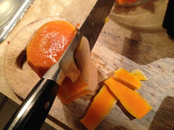 Gingery Butternut Soup, Peeling the Squash