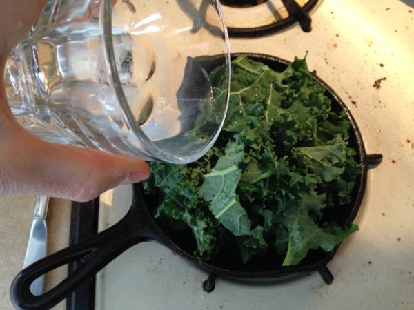 Kale on Eggs, Little bit of Water