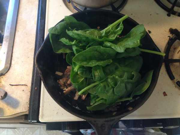 Spinach Omelette, Sauteing the spinach