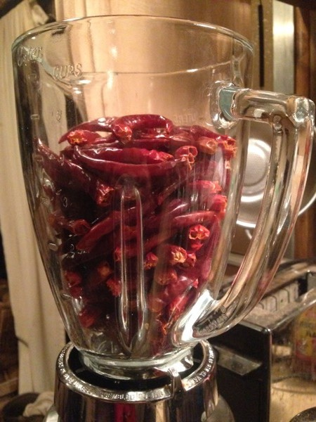 Ground Thai Peppers in Blender